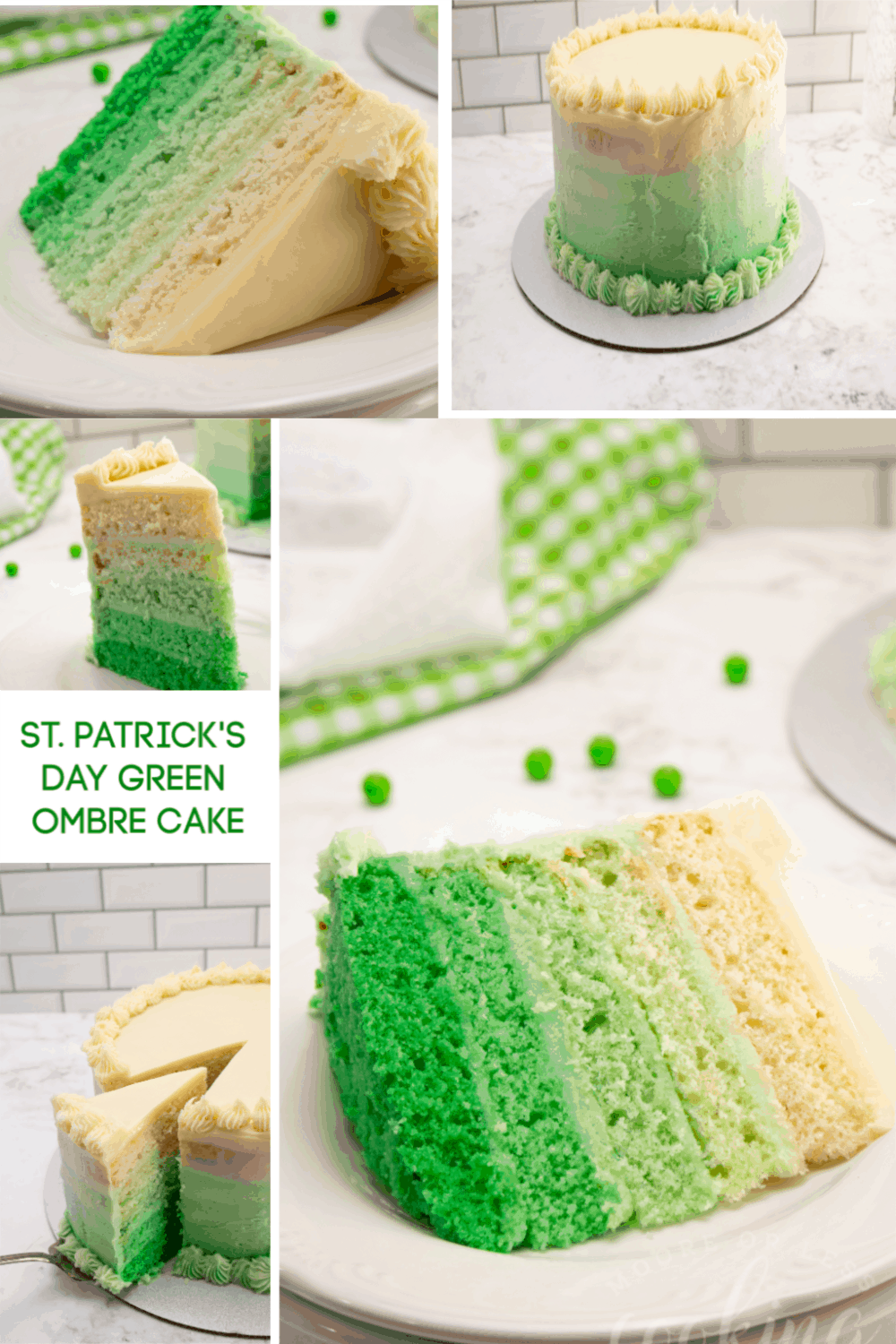 Are you looking to make something special for St. Patricks Day? Try making this beautiful St. Patrick's Day Green Ombre Cake and show off your baking skills! #Stpatricksdaycake #mooreorlesscooking via @Mooreorlesscook