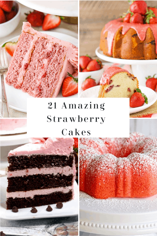 21 Best Strawberry Cakes #mooreorlesscooking #strawberry #cakes #desserts via @Mooreorlesscook
