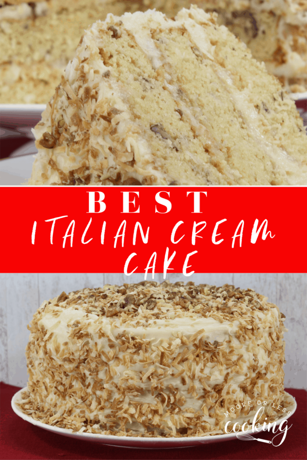 Italian Cream Cake~ This show stopper cake has 3-layers of the moistest, delicious cake that is made with toasted coconut, pecans, and a fluffy cream cheese frosting.  #mooreorlesscooking #Italiancake #creamcake #cake #pecans #coconut via @Mooreorlesscook