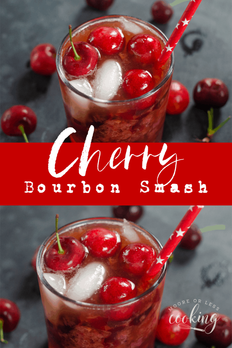 Cherry Bomb Smash is an extra delicious and refreshing cocktail. Only 5 ingredients are needed to make this tasty treat! Fresh cherries muddled with rich bourbon, vanilla, lemon juice, and a splash of club soda, make the ultimate Cherry Bourbon Smash! via @Mooreorlesscook