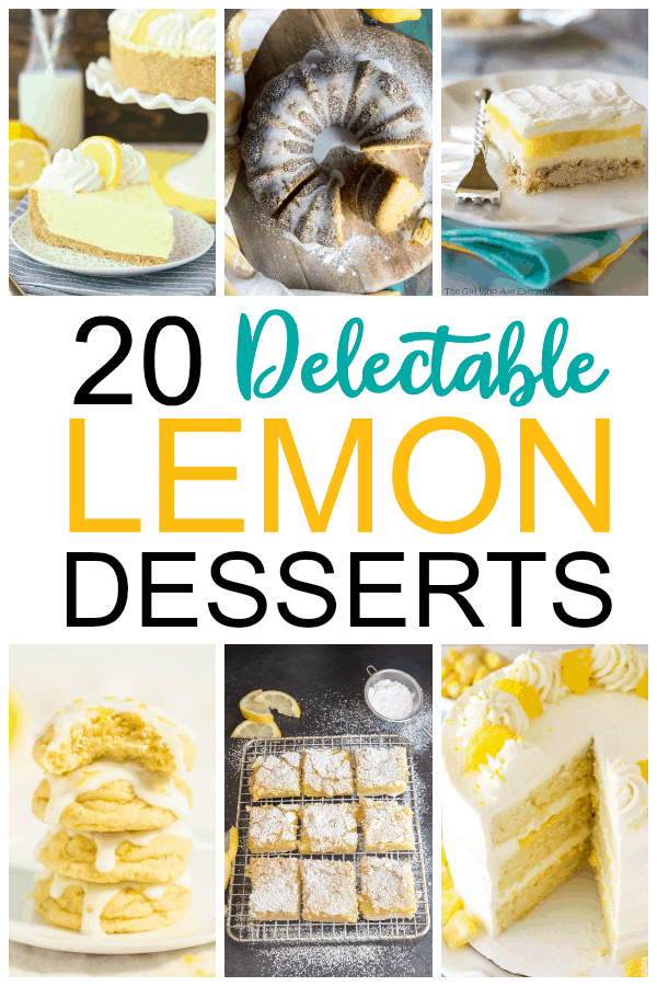 20 Delectable Lemon Desserts~If you love the refreshing scent and flavor of lemon, you'll want to keep this collection of 20 delectable lemon desserts handy. Full of bright and tangy flavor, you'll find desserts in the form of cakes, cookies, pies, popsicles, tarts, cream puffs, and more. #mooreorlesscooking #lemon #desserts via @Mooreorlesscook