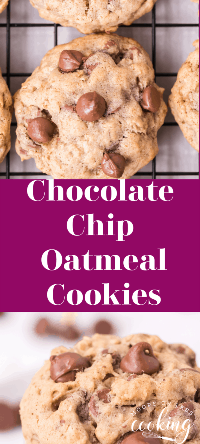 These Chocolate Chip Oatmeal Cookies are seriously the most delicious, best cookies hands down. A glass of milk and a couple of these yummy cookies are a wonderful treat. via @Mooreorlesscook