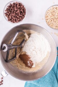 Mix in flour, baking soda, salt, cinnamon, nutmeg, and cinnamon until combined.
