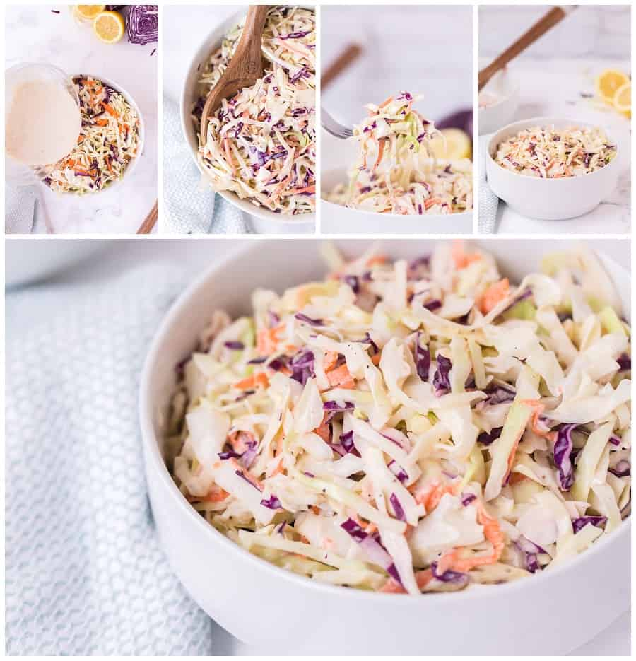 This really is the Best Coleslaw recipe. Only 6 ingredients are needed to make this slaw. Make this creamy crunchy coleslaw for your next cookout. via @Mooreorlesscook