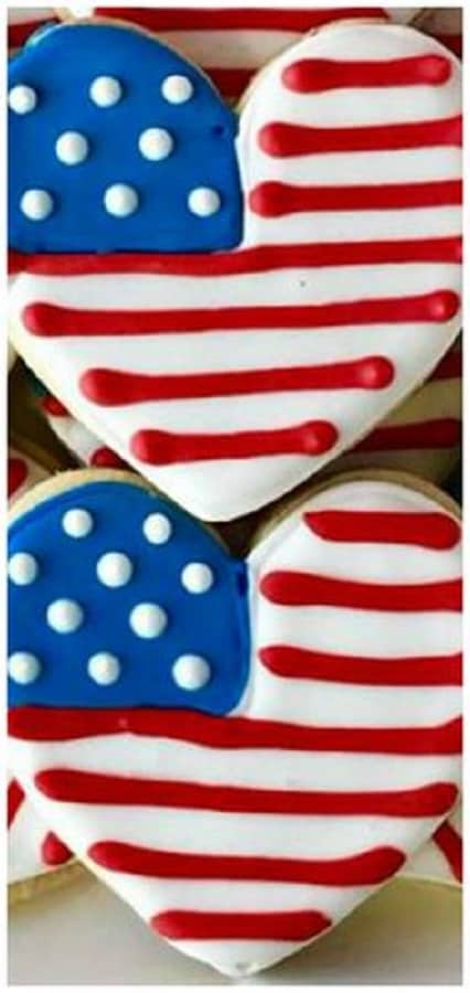 American Flag Heart Cookies