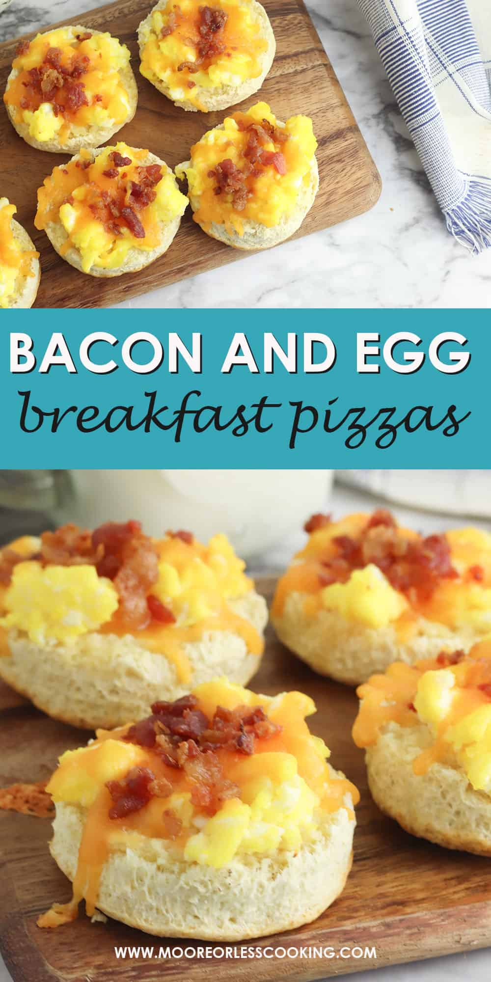 These simple breakfast pizzas are guaranteed to be popular with everyone at home because they can easily be adapted to different tastes. To make these breakfast pizzas you'll need five basic ingredients. via @Mooreorlesscook