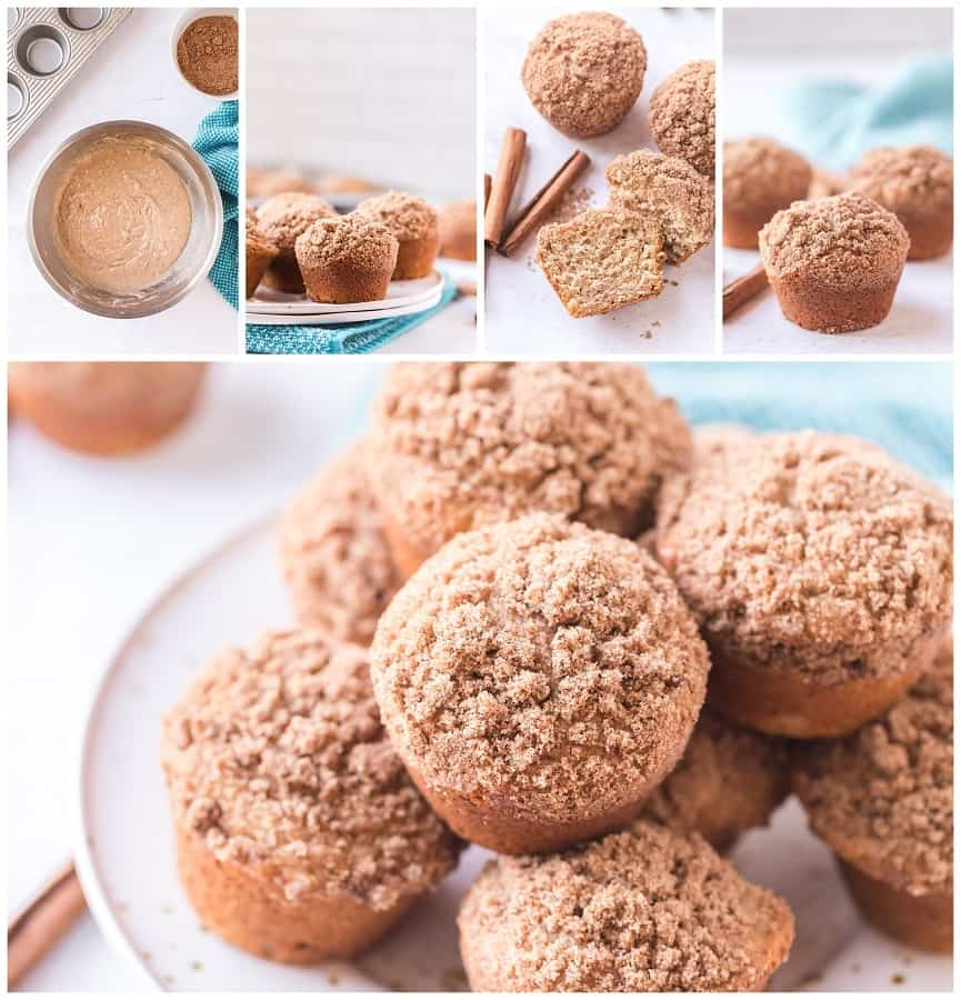 Best Cinnamon Muffins Ever! These Best Ever Cinnamon Muffins have a cinnamon sugar streusel topping. These fluffy moist muffins are so quick to make! Recipe makes 12 muffins so share them with your friends and family! via @Mooreorlesscook
