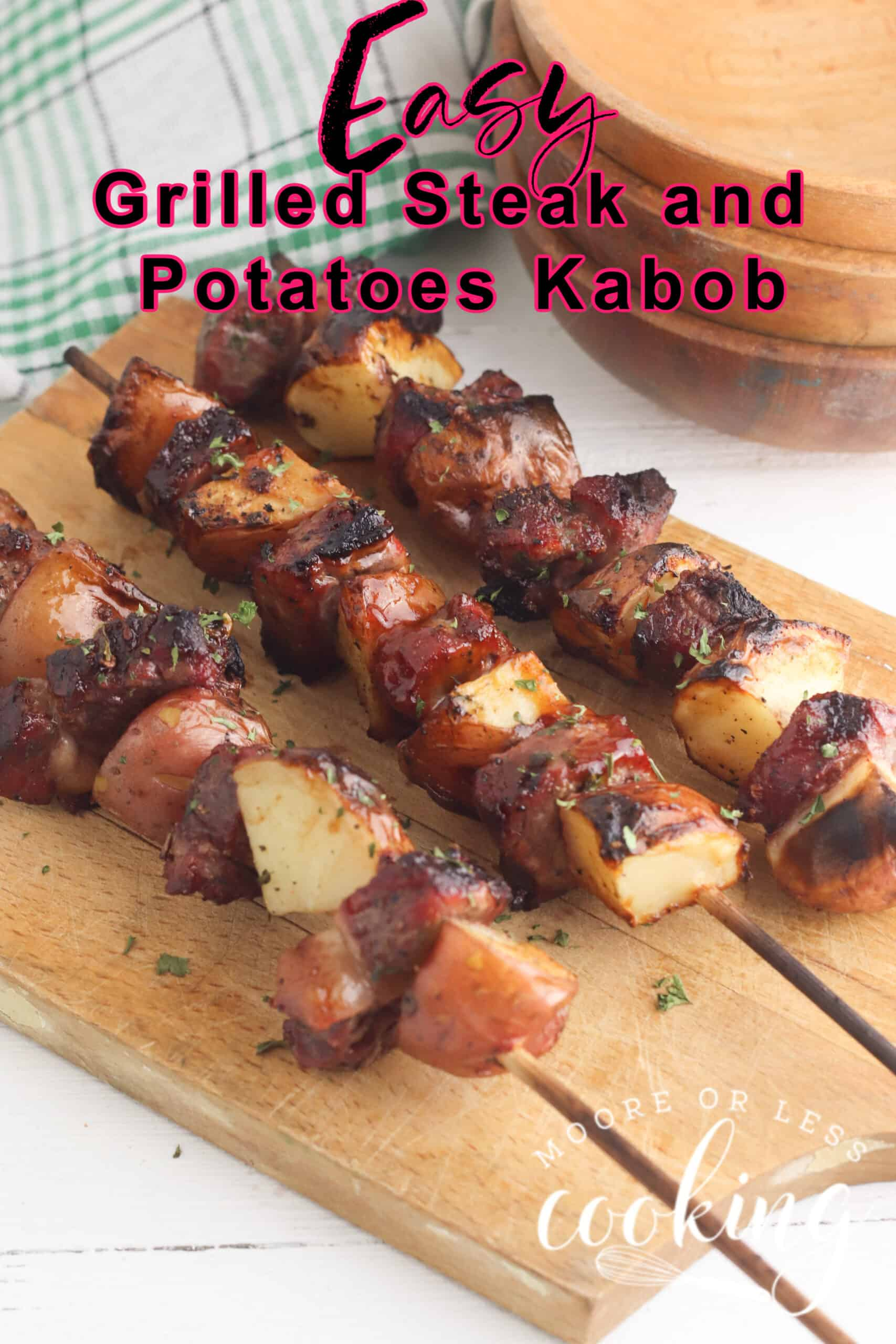 Simple to make Steak and Potato Kabobs are delicious and can be ready so quickly on the grill. Succulent and juicy steak and flavorful caramelized potatoes are perfect for any night dinner. via @Mooreorlesscook