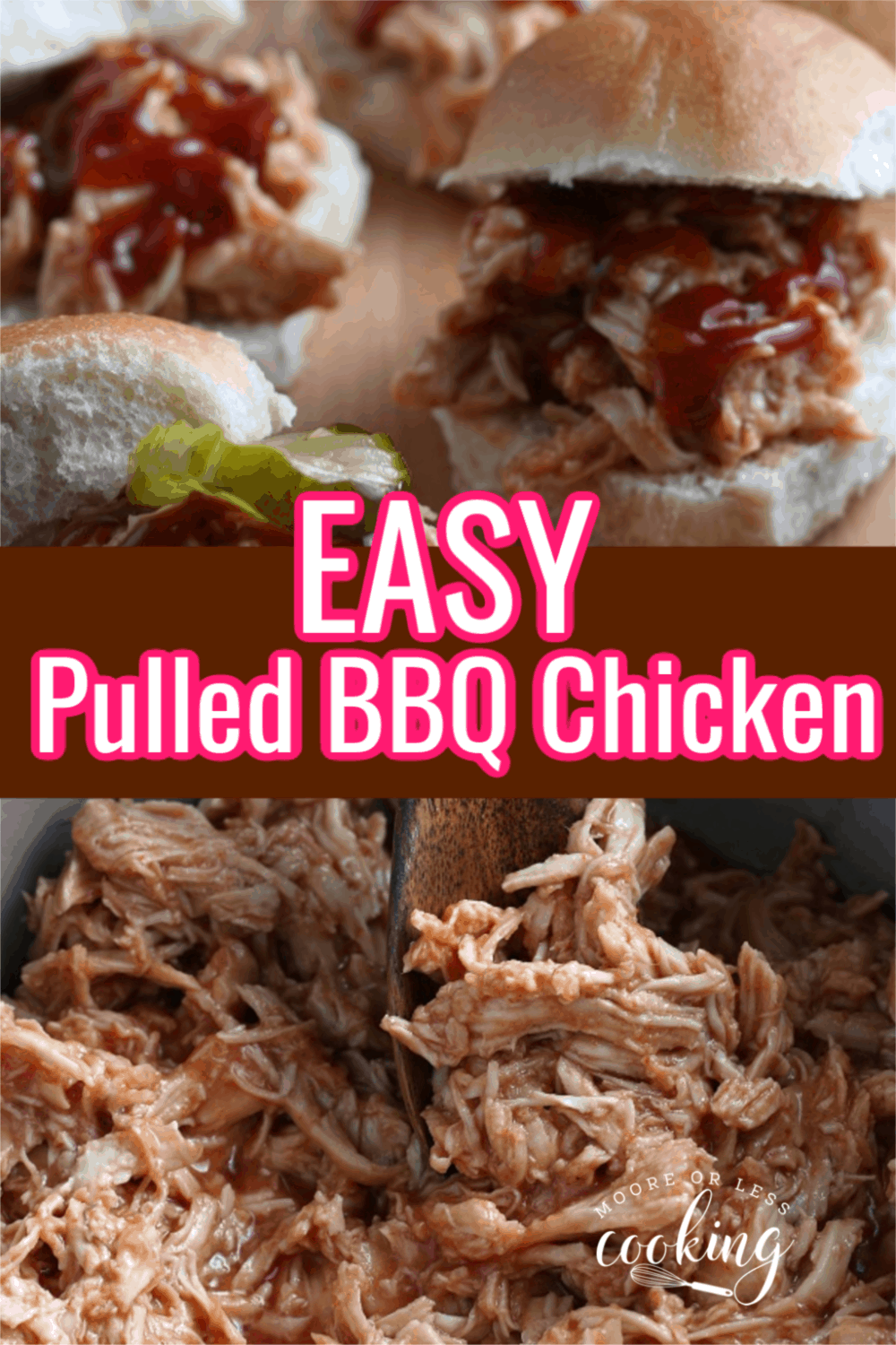 This simple recipe shows you how to make a BBQ Chicken Recipe in your Crock-Pot (also known as BBQ Pulled Chicken!). Also included is a Homemade BBQ Sauce Recipe. This is a quick, easy, and flavorful recipe that's perfect for any party, potluck, or picnic! via @Mooreorlesscook