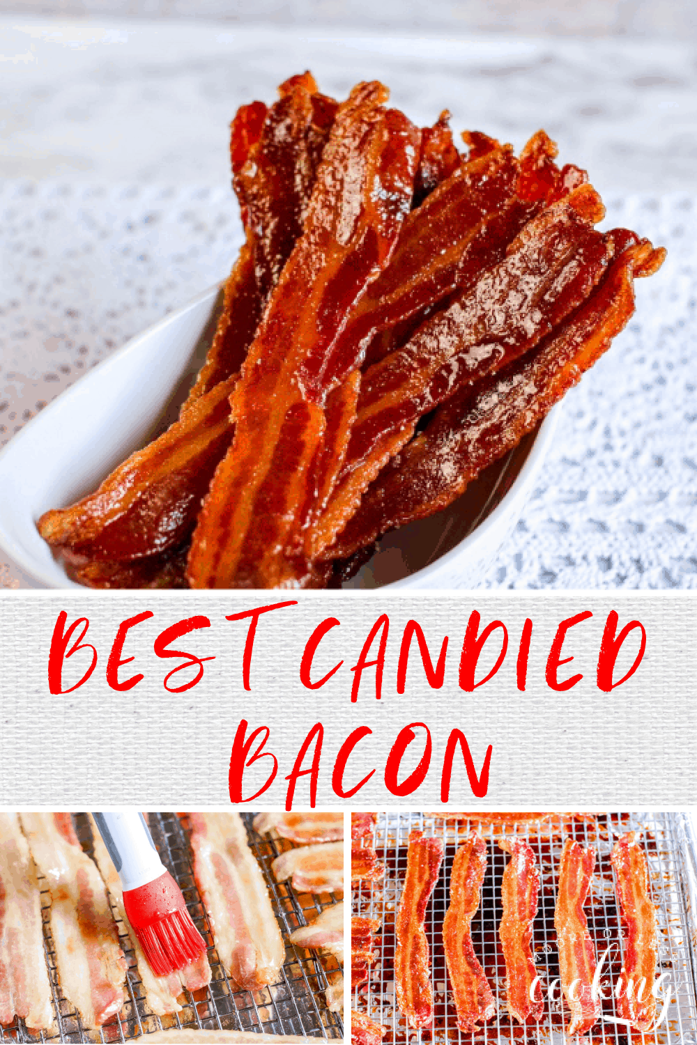 The Best Candied Bacon~ crispiest, sweetest, and delicious bacon recipe ever! It's not just for breakfast, add it to sandwiches, salads, appetizers, and desserts! via @Mooreorlesscook