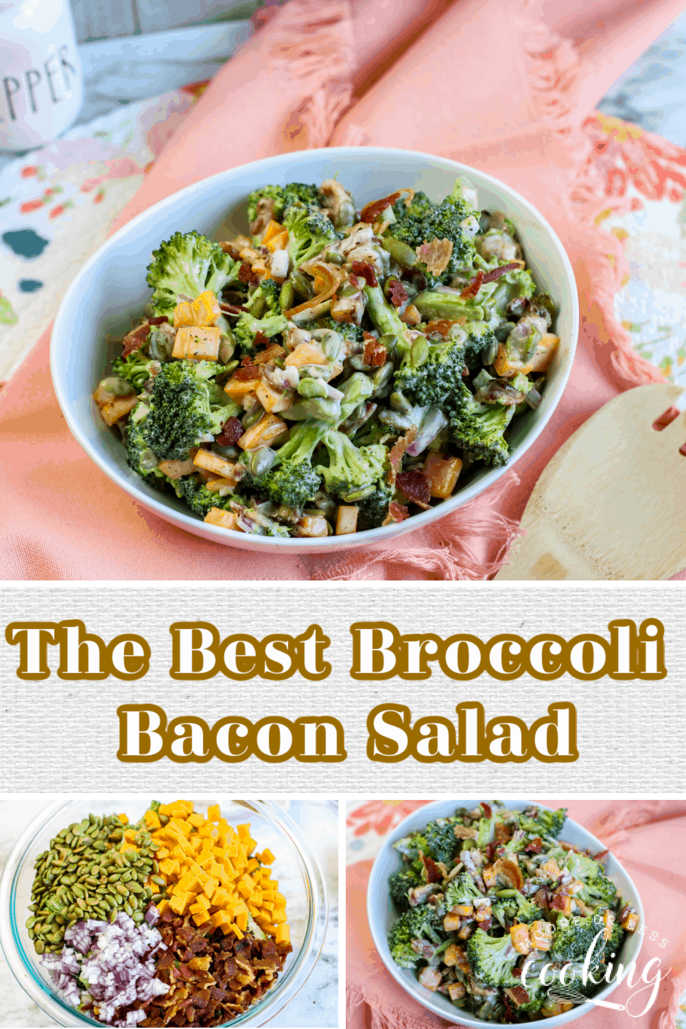 This is the Best Broccoli Bacon Salad ever! Fresh ingredients make this best broccoli salad perfect as a main course or side salad for any meal. It's keto/low carb too! via @Mooreorlesscook