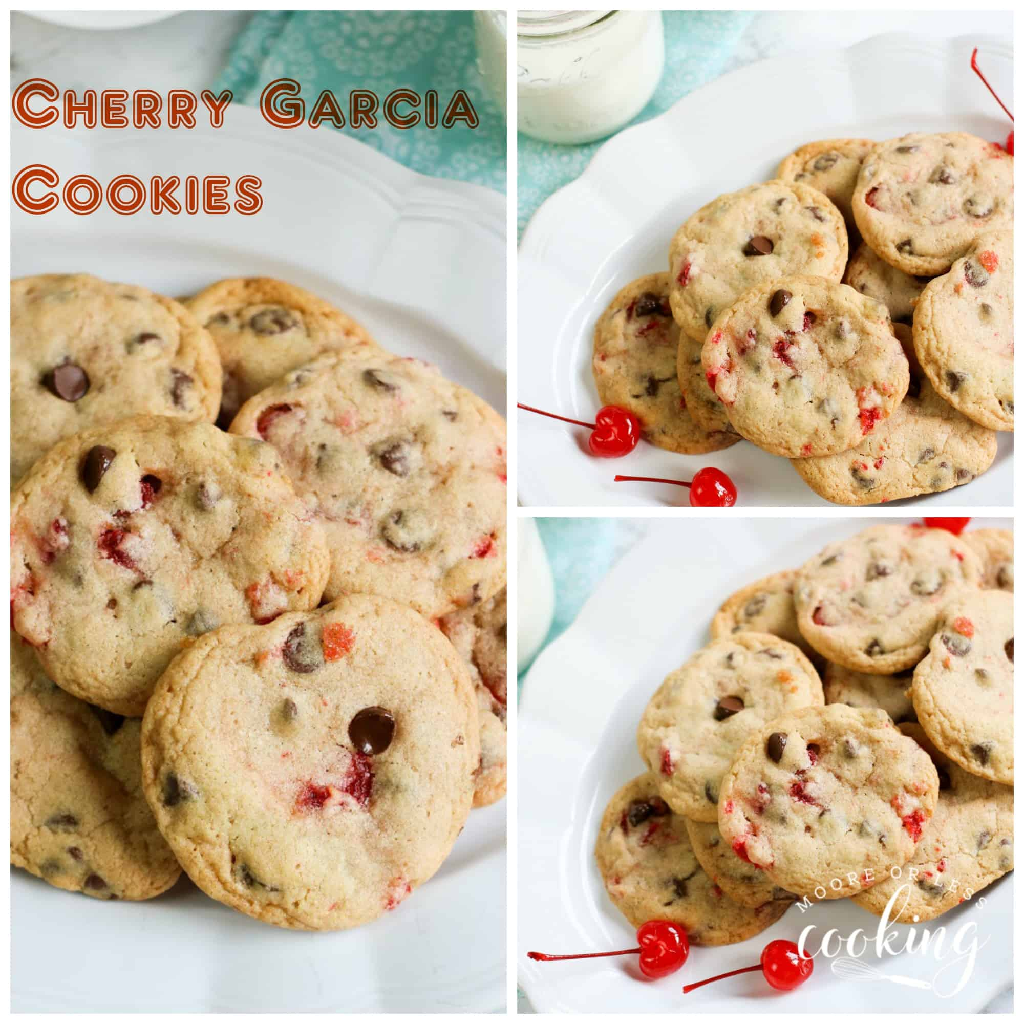 Best Cherry Garcia Cookies. These cookies are inspired by the famous ice cream that everyone loves, turned into perfectly soft yet chewy cookies that are perfect any time of day! via @Mooreorlesscook