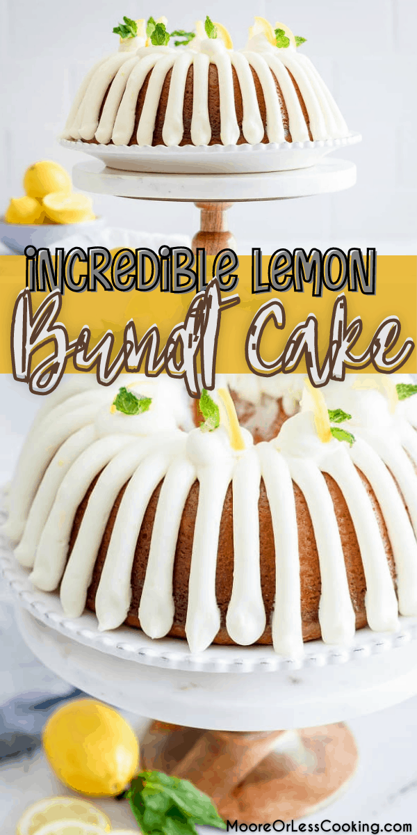Incredible lemon bundt cake is bursting with lemon flavor throughout. Completely made from scratch drizzled with lemon cream cheese frosting and a lemon glaze sauce over the cake. via @Mooreorlesscook
