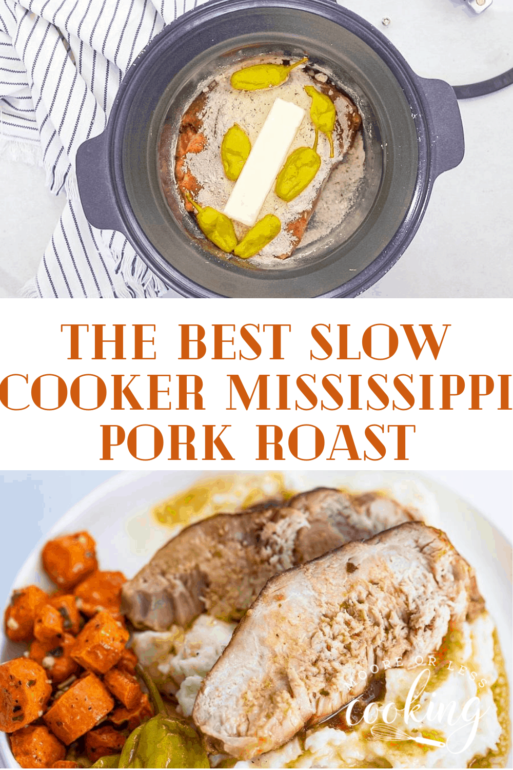 Slow Cooker Mississippi Pork Roast is the most simple meal that is made in the slow cooker/crockpot. Just set it and forget it for a tender to the touch pork roast that is incredibly flavorful and melts in your mouth delicious. This Slow Cooker roast is savory, sweet, and spicy. Takes only 5 minutes to prep and can be paired with tons of sides.  via @Mooreorlesscook