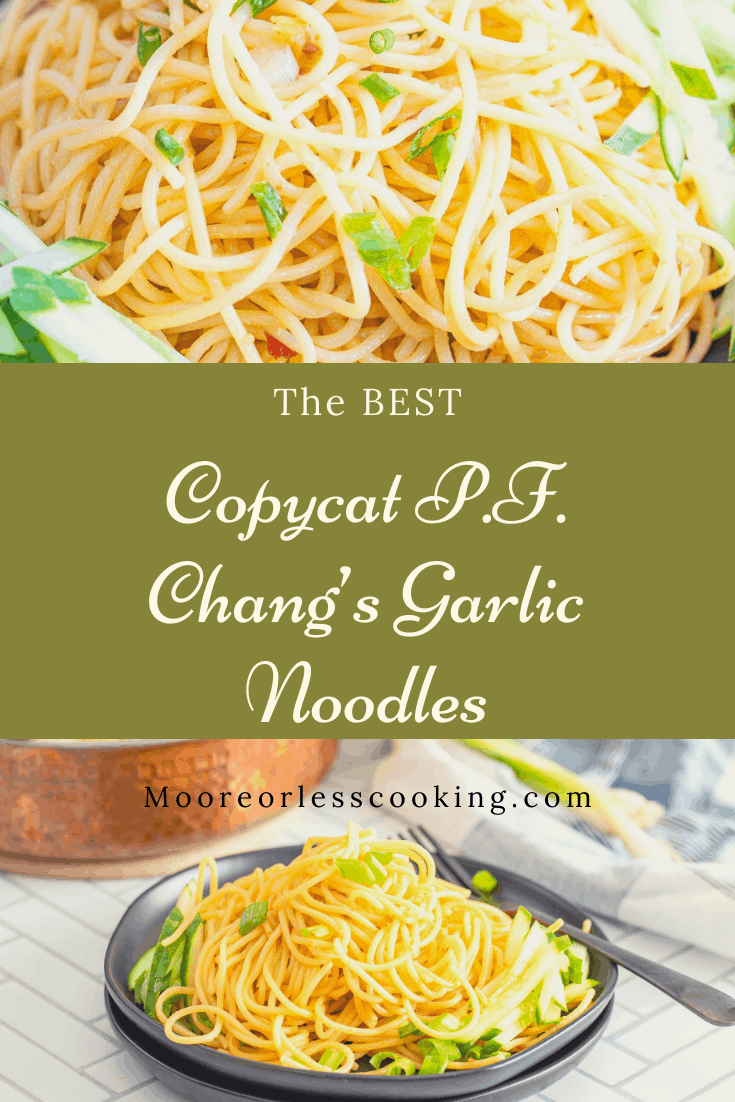Copycat P.F. Chang's Garlic Noodles~ These popular noodles are a copycat from your favorite take-out to staying-in! Tasty noodles are stir-fried to perfection with garlic and chili flakes. They will be your new go-to, either on their own or with stir-fried beef, chicken, or pork. Much tastier and healthier when you make it yourself. via @Mooreorlesscook
