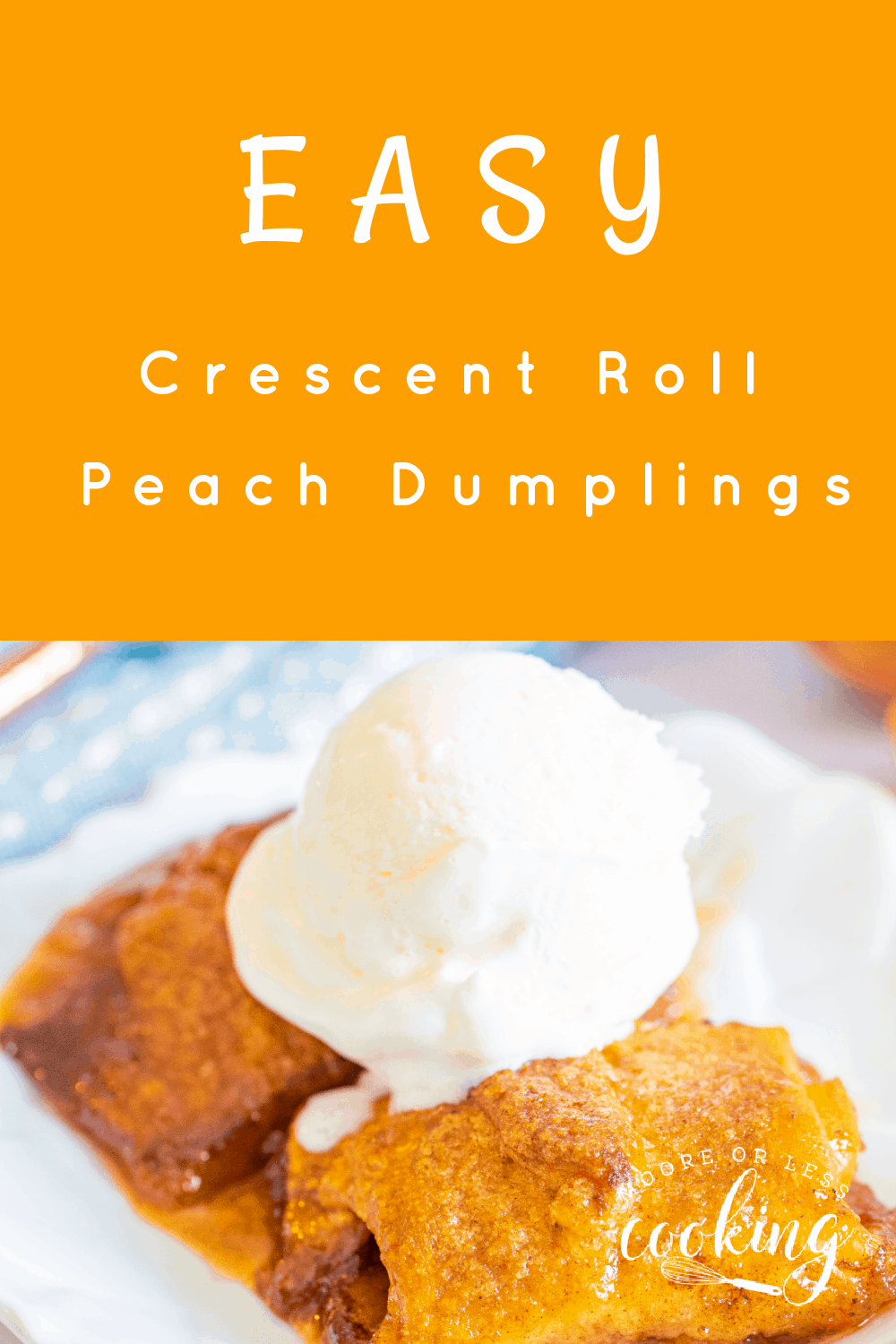 This Easy Crescent Roll Peach Dumplings recipe is one of the best desserts ever. Fresh peaches combined with brown sugar and cinnamon are an incredible combo. These peach pastries are a game-changer – make this easy dessert in 45 minutes! via @Mooreorlesscook