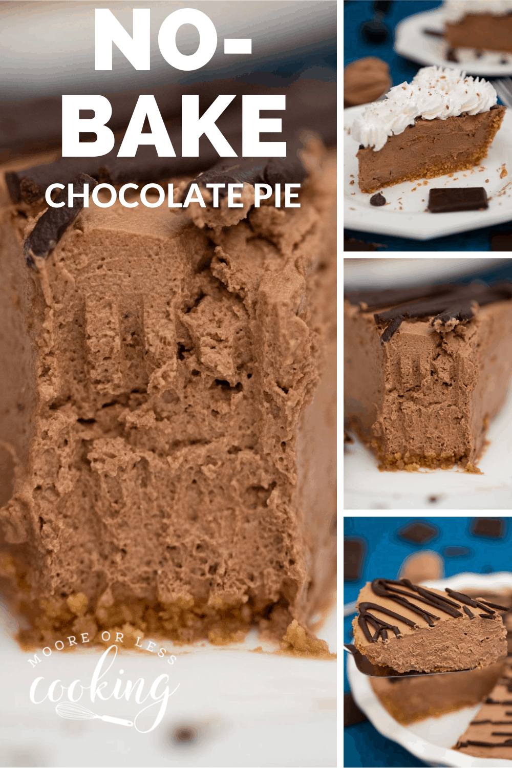 This Super Easy, Ultra-Rich, and Creamy Chocolate Pie is the easiest pie to make ever! With only seven ingredients and a couple of minutes of time, you can have yourself one amazing pie to enjoy today. via @Mooreorlesscook