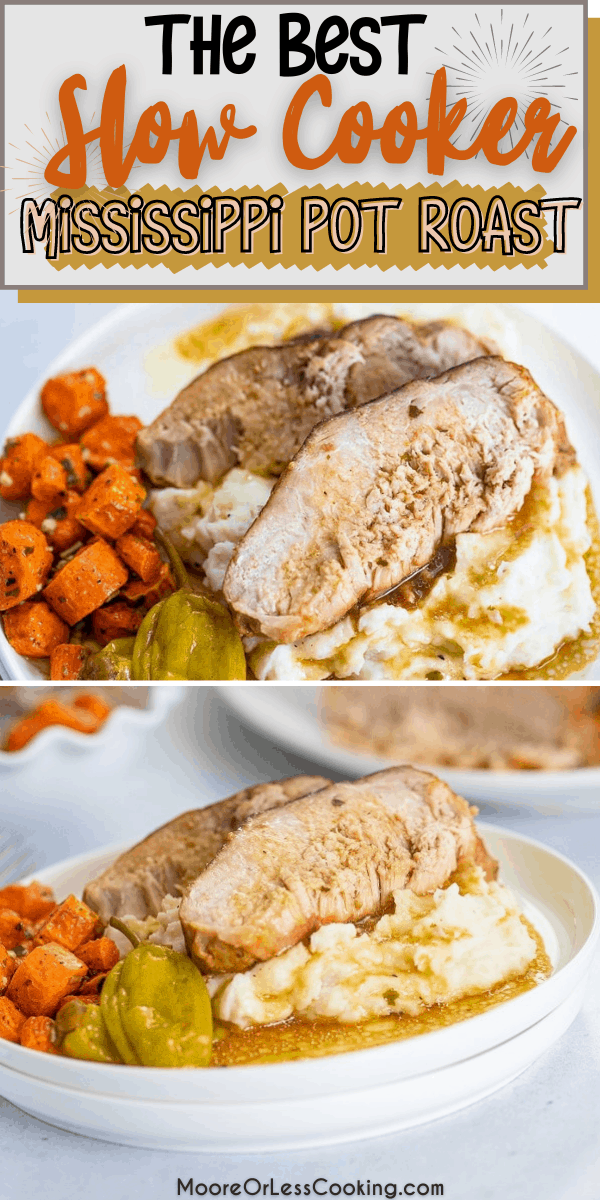 Slow Cooker Mississippi Pork Roastis the most simple meal that is made in the slow cooker/crockpot. Just set it and forget it for a tender to the touch pork roast that is incredibly flavorful and melts in your mouth delicious. This Slow Cooker roast is savory, sweet, and spicy. Takes only 5 minutes to prep and can be paired with tons of sides. via @Mooreorlesscook