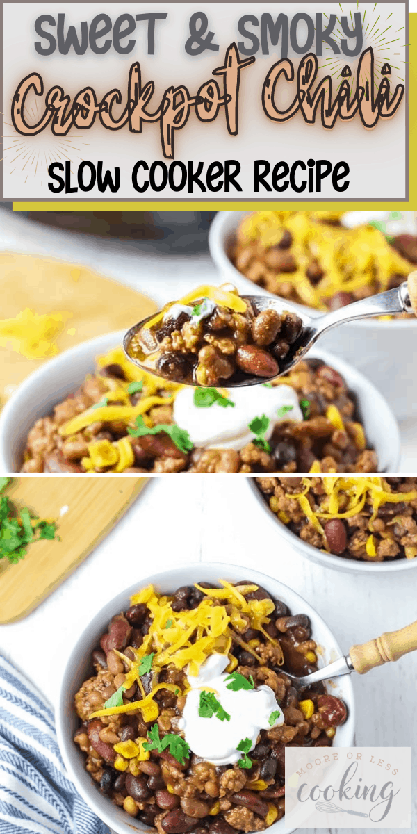 Sweet and Smoky Crockpot Chili is one of my favorite easy crockpot recipes. If you're looking for the best chili recipe to make in your slow cooker, you've found it. This easy chili recipe is made with ground beef, bacon, onion, corn, garlic, spices, 5 types of beans. via @Mooreorlesscook