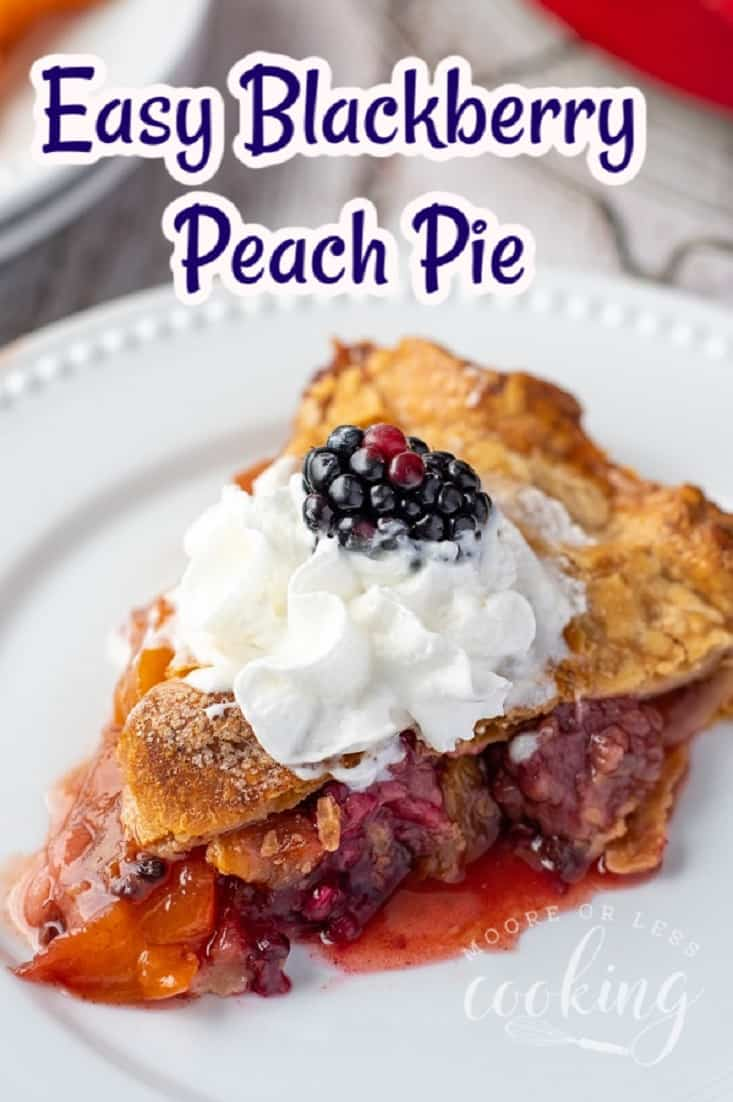 Easy Blackberry Peach Pie~Ripe sweet summer peaches and tart blackberries make one of the best dessert pies ever! The combination is incredible! via @Mooreorlesscook