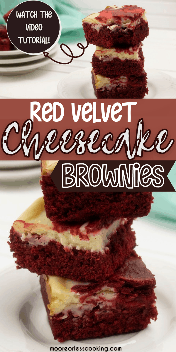 Red Velvet Cheesecake Brownies Bite into one of these decadent Red Velvet Cheesecake Brownies and taste the perfect combination of chocolate with a sweet cheesecake topping that's lightly swirled into the brownie. It's positively swoon-worthy! via @Mooreorlesscook