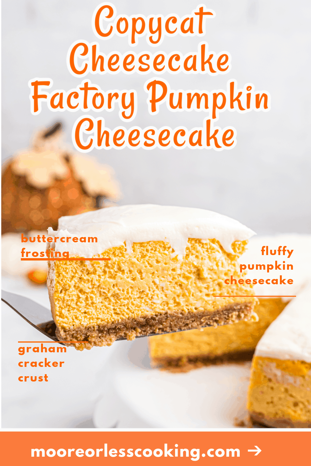 Save money while enjoying the taste of Cheesecake Factory's Pumpkin Cheesecake. This recipe is the perfect dupe for the traditional recipe, but you can make it at home instead of going to the restaurant to get it. via @Mooreorlesscook