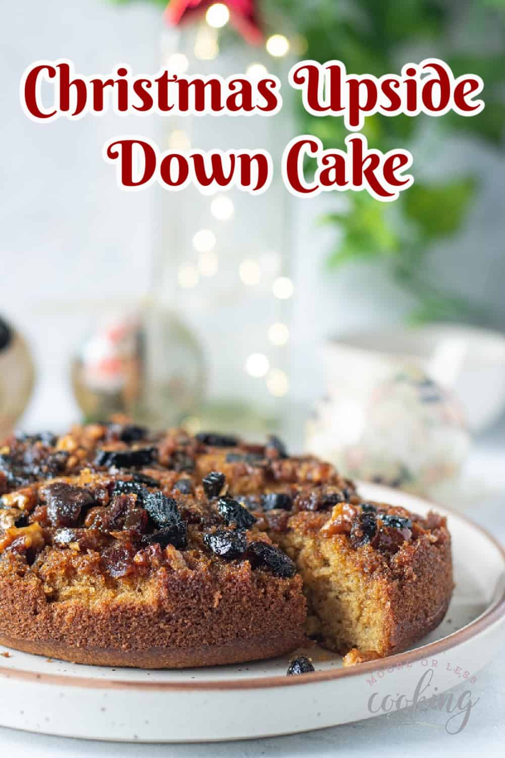 This festive upside-down Christmas cake makes a delicious coffee cake dessert. Spiced with a cinnamon, nutmeg, and cloves batter, this cake features a fruit and nut topping that's a perfect pairing for this delectable holiday dessert. via @Mooreorlesscook
