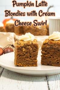 Pumpkin Latte Blondies with Cream Cheese Swirl