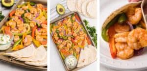 Sheet Pan Shrimp Fajitas Collage