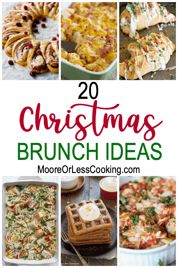 Host the ultimate Christmas Brunch with these 20 scrumptious recipe ideas. You'll find delicious savory and sweet items that will be crowd-pleasers for adults as well as kids. From casseroles to waffles and from quiche to overnight french toast, you'll find a variety of seasonal flavors in this collection. via @Mooreorlesscook