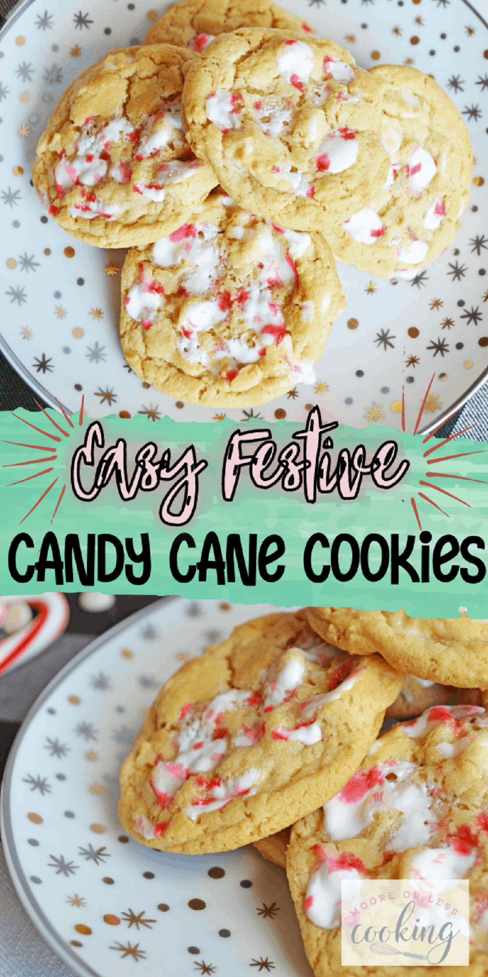 If you love the combination of white chocolate and peppermint, then these candy cane cookies will be your new favorite holiday cookie! Soft and chewy, you'll adore the flavor of chocolate mingled with crushed candy cane that you'll get with every delicious bite. via @Mooreorlesscook