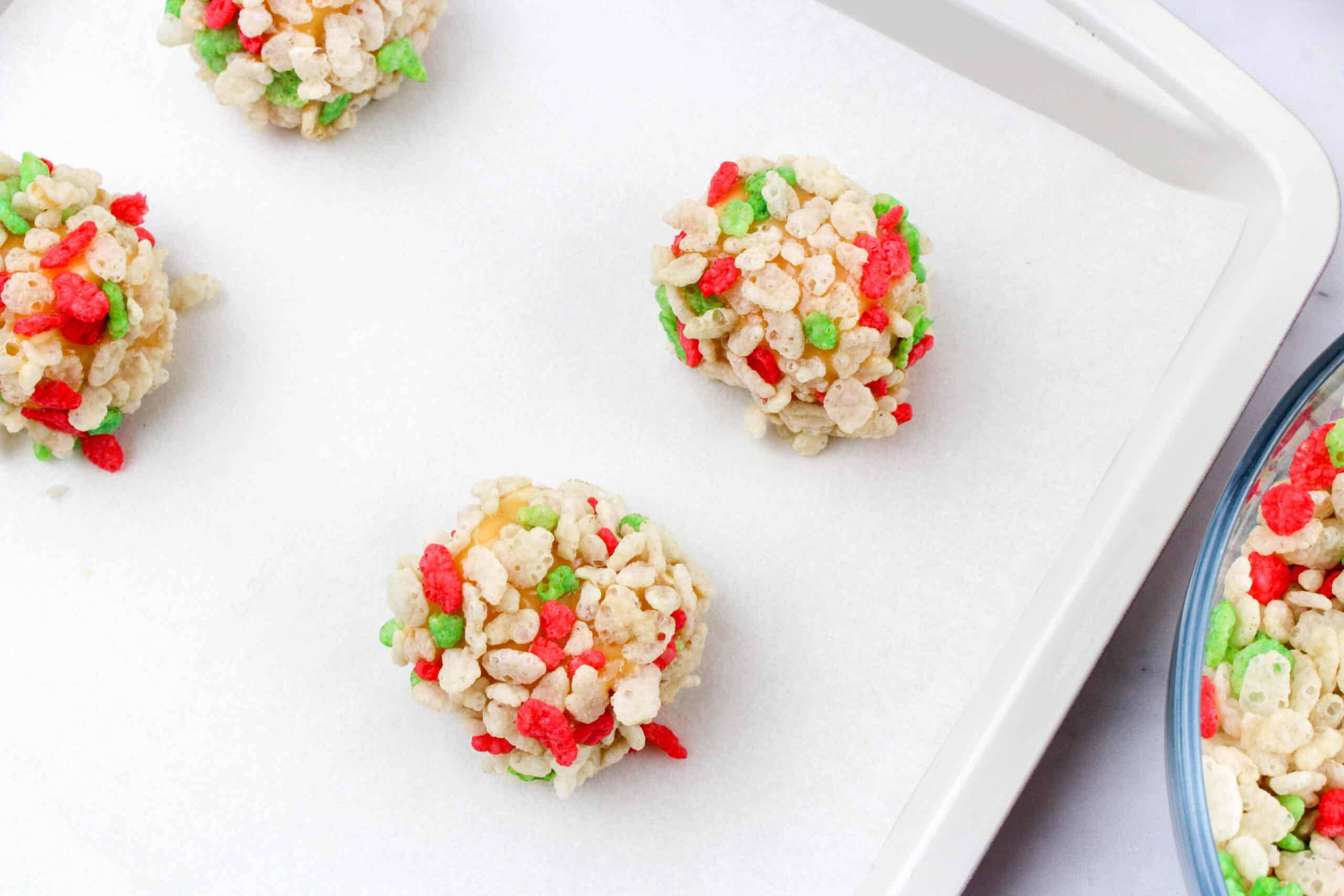 Christmas Caramel Marshmallow Rice Krispies Balls