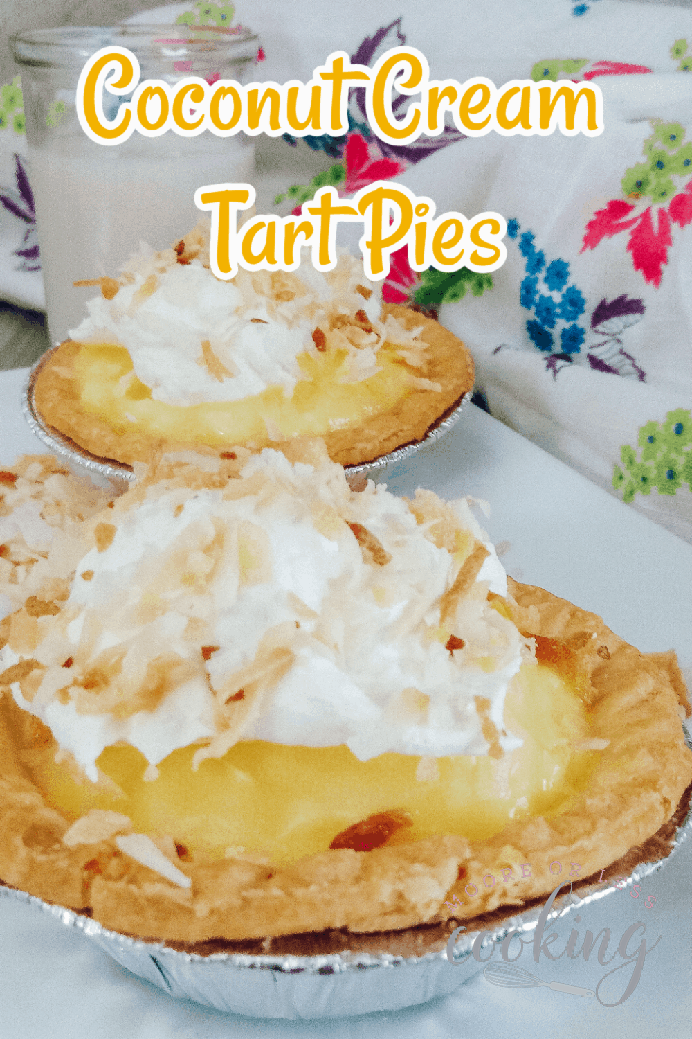 These no-bake mini tarts are a quick, easy and creamy coconut dessert that's topped with the nutty flavor of toasted coconut. Perfect for a brunch, a party, or a single-serve treat, these coconut cream pie tarts are a delightfully simple and scrumptious dessert. via @Mooreorlesscook