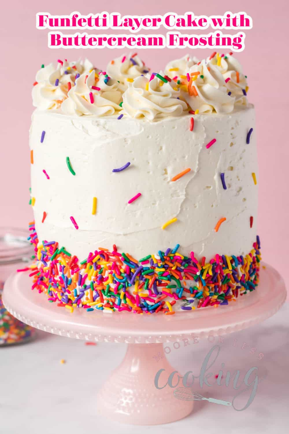 If you're looking for a showstopper of a cake, this Funfetti Layer Cake is it! Three layers of white cake are flecked with a baked-in rainbow of sprinkles that are iced with a rich vanilla buttercream frosting. More sprinkles decorate the outside of the Funfetti Cake for a colorful dessert that's perfect for any celebration! via @Mooreorlesscook