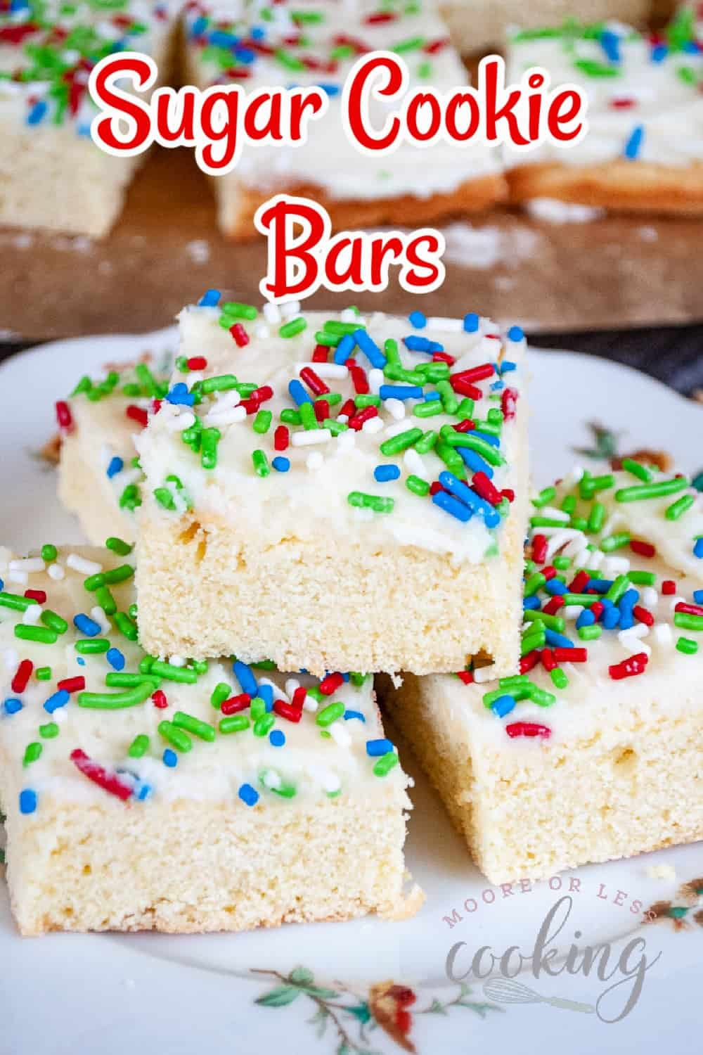 These Sugar Cookie Bars are a soft, sweet, and chewy vanilla crumb layer topped with a buttercream frosting and decorated with sprinkles. These delectable bars taste just like your favorite sugar cookie, but with a slathering of sweet and buttery icing. via @Mooreorlesscook