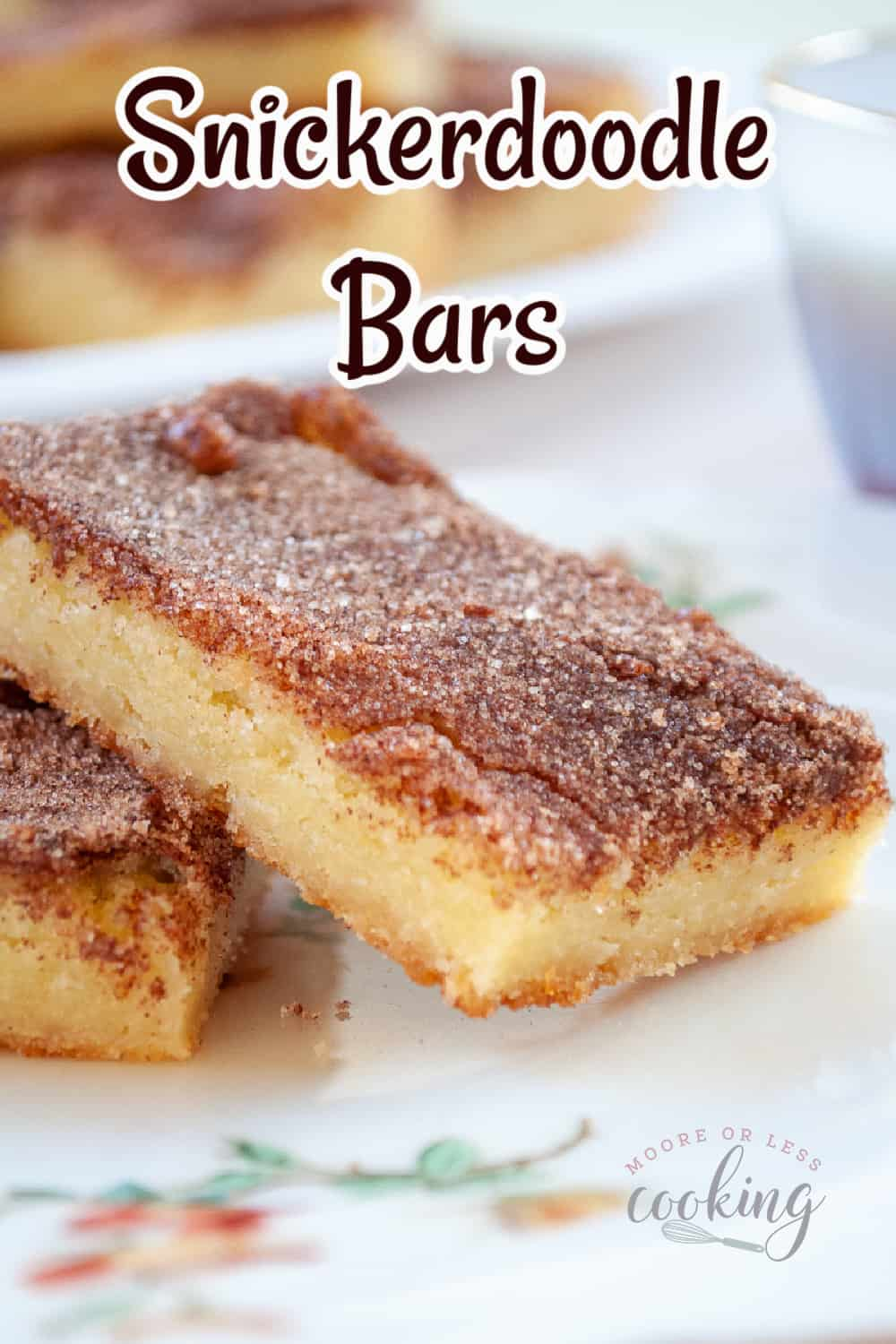 Snickerdoodle Bars. If you love snickerdoodle cookies, you'll adore these easy to make snickerdoodle bars. They have that classic cinnamon and sugar flavor but in a blondie bar form, that's buttery, soft, and chewy. via @Mooreorlesscook