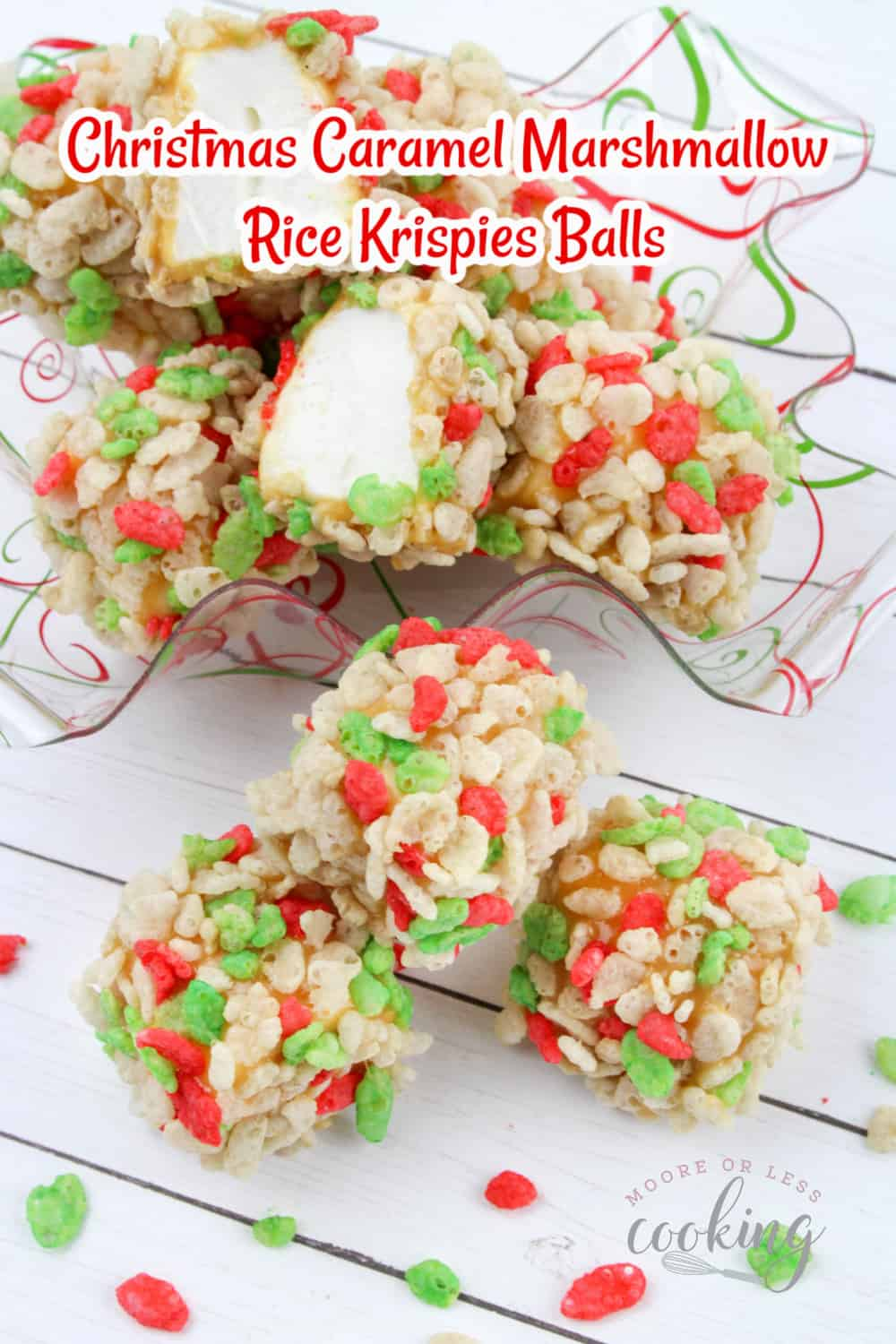 These no-bake Christmas Caramel Marshmallow Rice Krispies Balls may be the easiest dessert you make this season. They're the perfect melt in your mouth sweet treat for the holidays! via @Mooreorlesscook