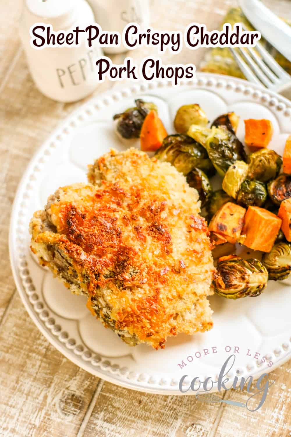 Sheet Pan Crispy Cheddar Pork Chops with Brussels Sprouts and Sweet Potatoes
