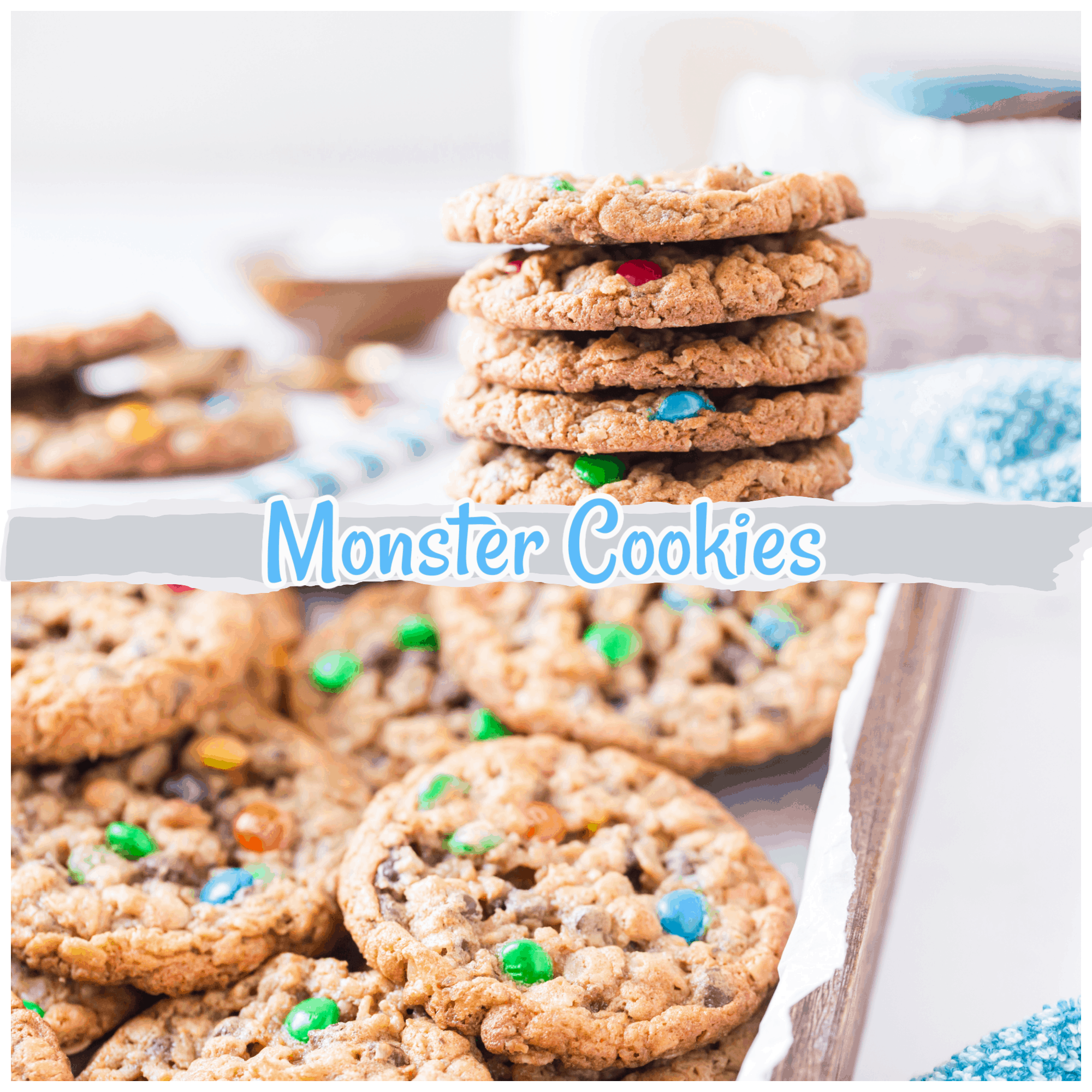 Monster cookies are oatmeal, chocolate chip, peanut butter cookie that is crispy, chewy, and sweet (as every cookie should be!). It has been said that the original creators of the recipe called it a Frankenstein's monster mashup of the cookie world (I mean, there's no flour yet it still works!). This means there are a lot of different components of cookie recipes all combined into this glorious cookie. via @Mooreorlesscook