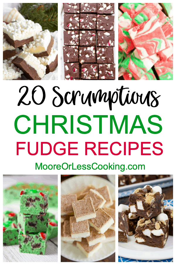 If you're looking for a quick holiday sweet treat, you'll want to check out these 20 scrumptious Christmas fudge recipes. Basic fudge recipes get up-leveled to festive status with the addition of nuts, caramel, peppermint, eggnog, marshmallows, flavored extracts, and more. You'll find stovetop versions as well as quick-melt versions of delectable fudgy recipes that are perfect for parties, gift-giving, or just countertop sweet treats. From dark chocolate to white chocolate, these fudge recipes are sure to satisfy your sweet tooth while also helping you celebrate the Christmas season. via @Mooreorlesscook