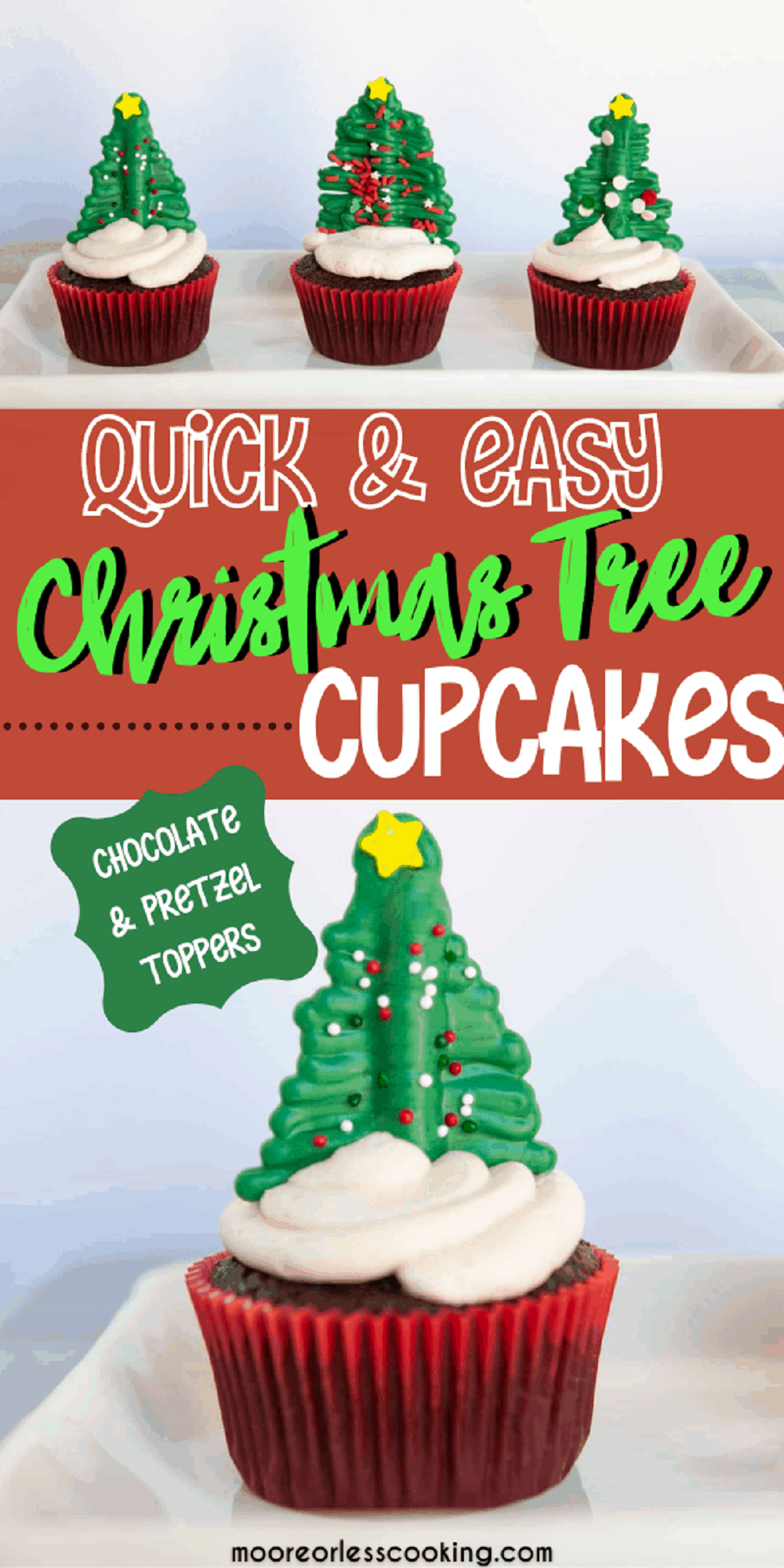 These Christmas Tree Cupcakes will be an instant hit with kids as well as adults this holiday season. Sitting on top of each delicious cupcake is a cute evergreen tree topper that's made out of chocolate and pretzels! It's an easy craft that's perfect for a decorating party. via @Mooreorlesscook