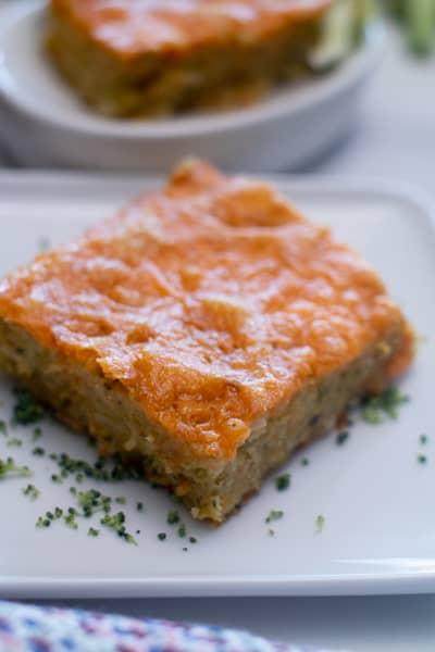 sliced square broccoli cheddar cornbread