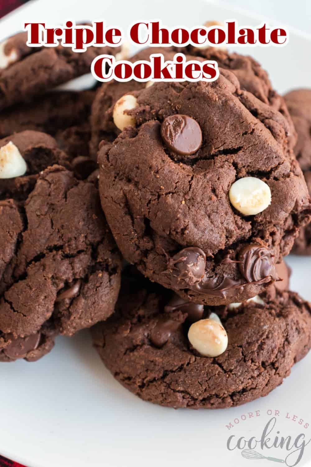 For a serious serving of chocolate, you'll want to make these outrageously rich and decadent Triple Chocolate Cookies. Go ahead and indulge with this amazingly easy recipe that will most certainly become your new favorite! via @Mooreorlesscook
