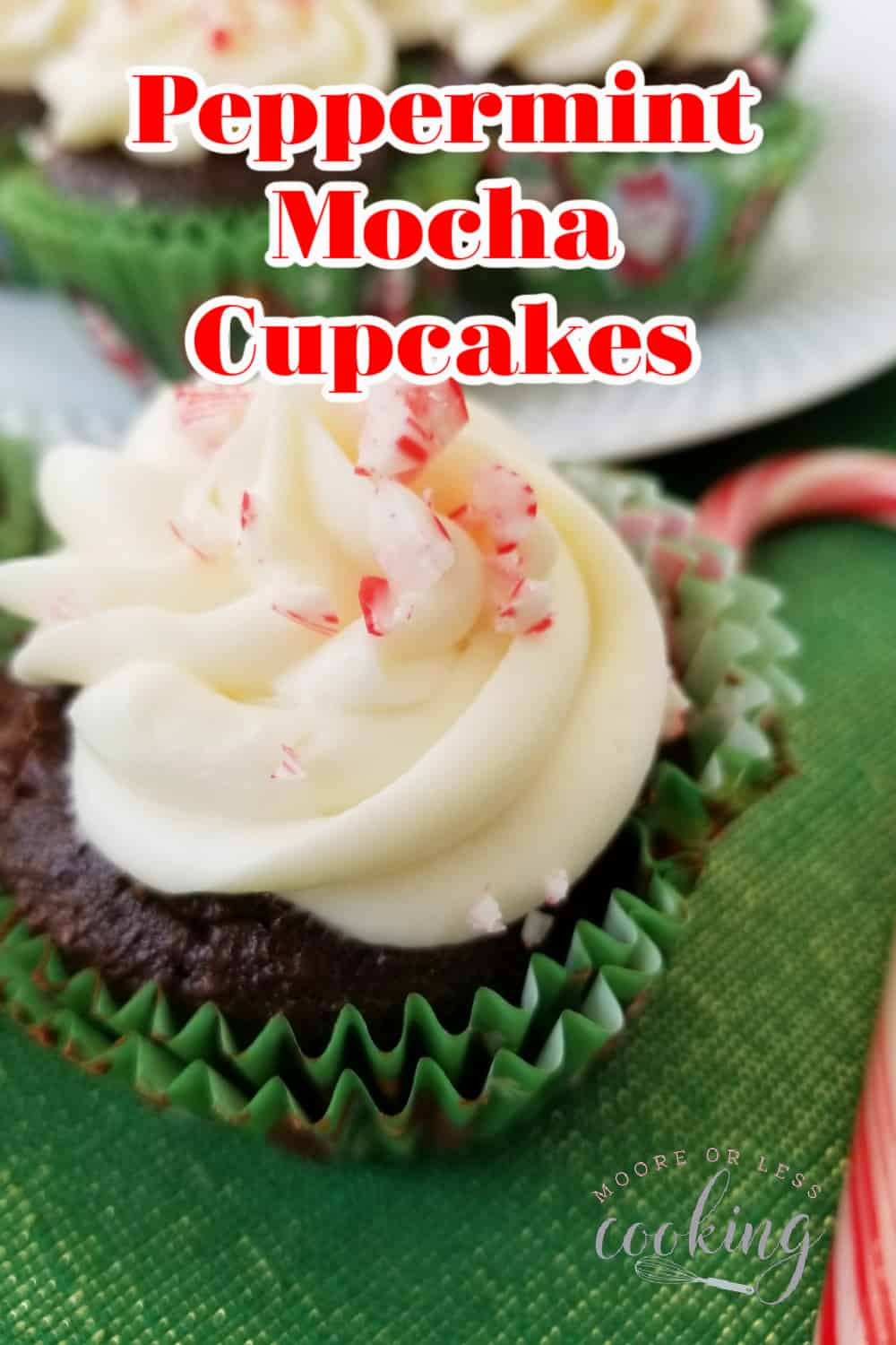 Rich and decadent, these Peppermint Mocha Cupcakes will help you kick off the holidays in a delicious way. From their minty and mocha cake flavor topped with a creamy frosting to the dusting of crushed candy canes on top, these cupcakes are the perfect sweet treat to celebrate the season. via @Mooreorlesscook