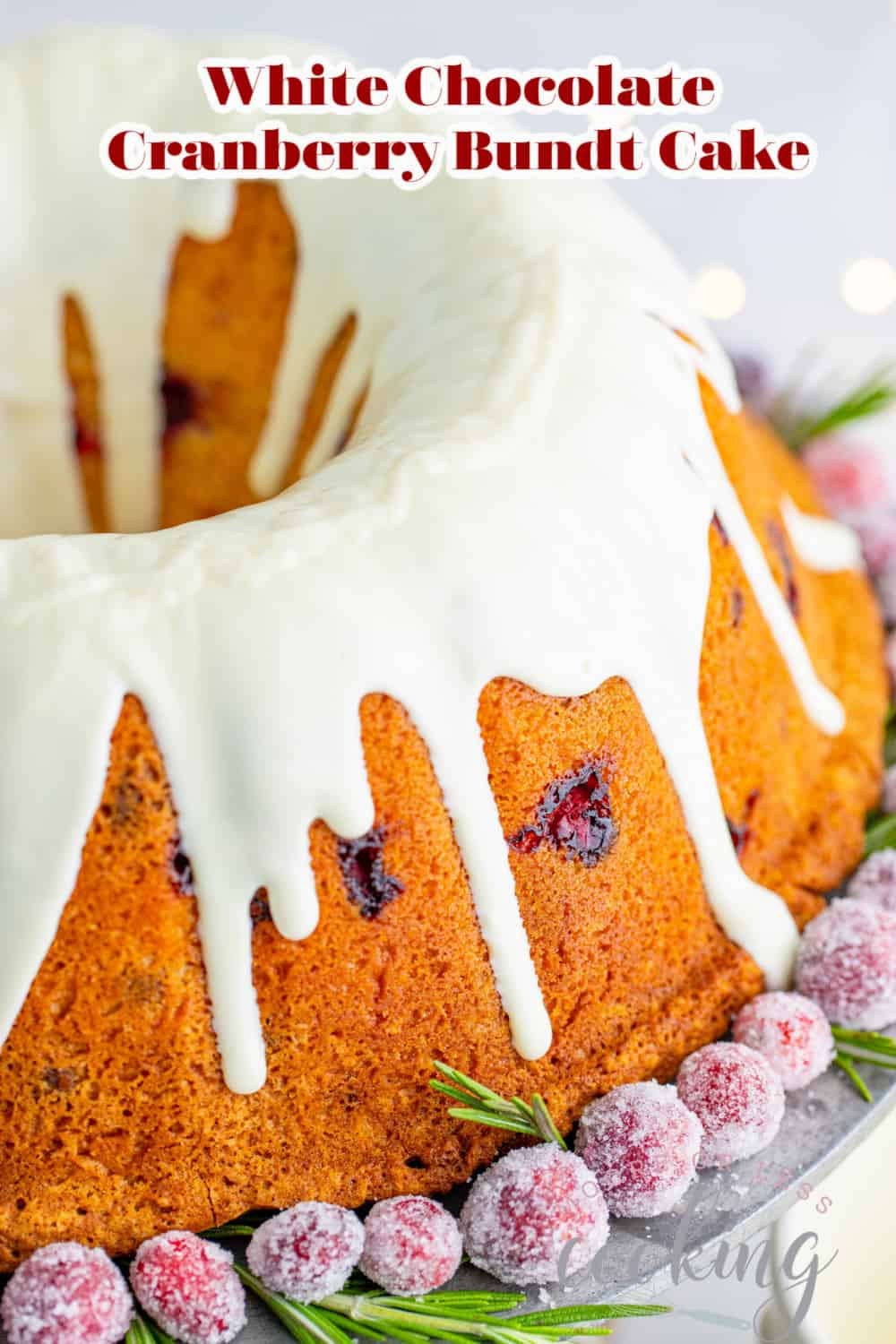 With its snowy glaze and a glistening garnish of sugared berries, this White Chocolate Cranberry Bundt Cake will be a showstopper on your holiday dessert table. Perfect for Thanksgiving, Christmas, or New Years', this gorgeous cake is a must-make for festive celebrations. via @Mooreorlesscook
