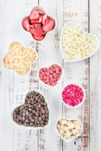 ingredients in heart shaped bowls
