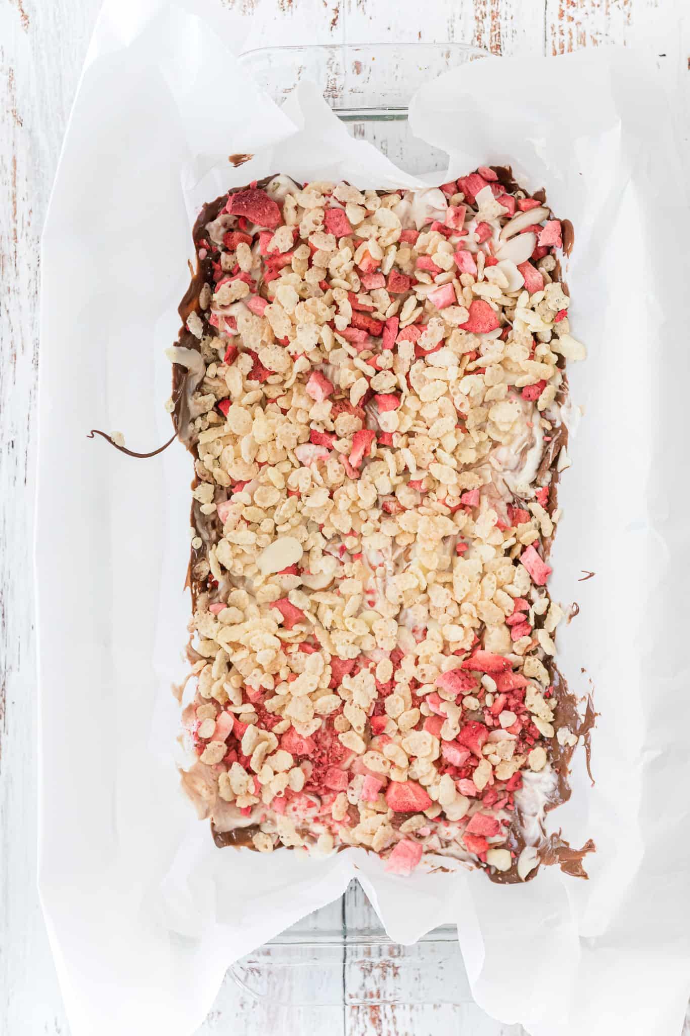 second layer Valentine's Crispy Strawberry Chocolate Bark
