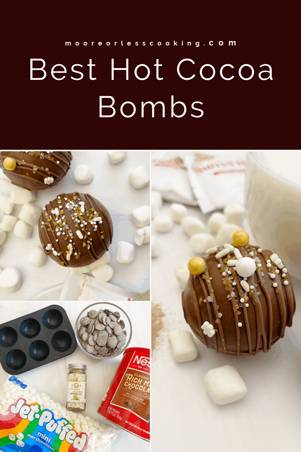 Filled with cocoa mix and marshmallows, these hot cocoa bombs are an adorable way to make a mug of cozy hot chocolate. Kids as well as adults love the chocolate explosion of deliciousness that magically turns into everyone's favorite warm beverage. via @Mooreorlesscook