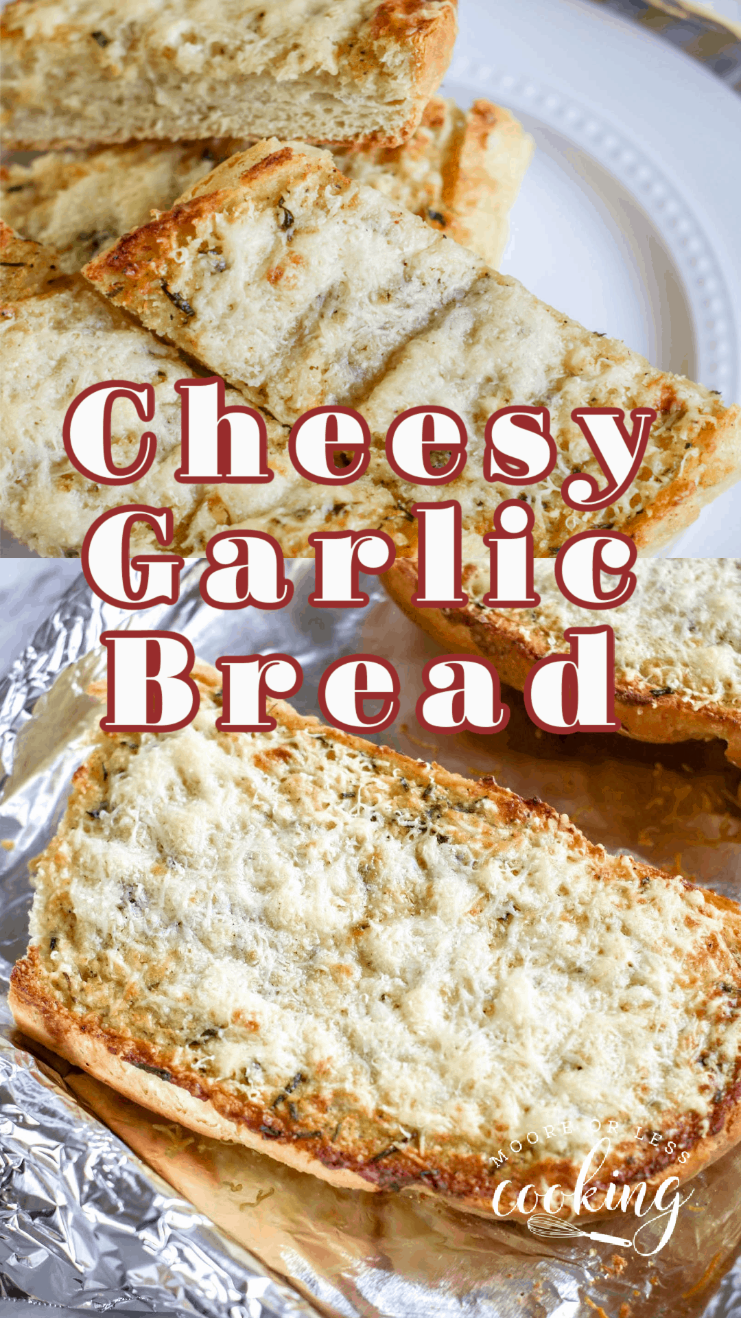 Slathered with a homemade herbed garlic butter spread and garnished with two kinds of cheese, French bread gets toasted to savory perfection with this irresistible cheesy garlic bread recipe. via @Mooreorlesscook