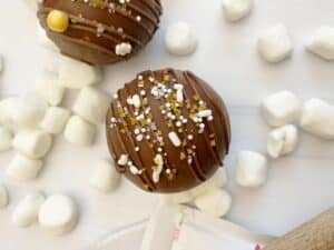 marshmallows, 2 chocolate hot cocoa bombs